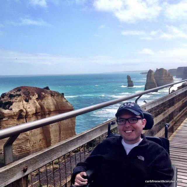 In front of the 12 Apostles on the Great Ocean Road.