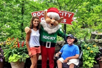 My mom and I with Rocky, the mascot of Rock City.