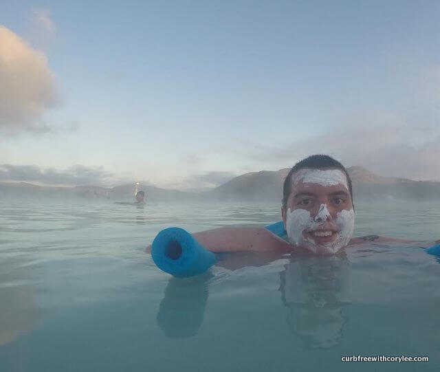 In the Blue Lagoon in Iceland.