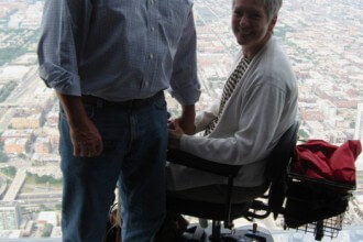 Chip and Jeanne Allen at the top of the Sears Tower Skydeck (now Willis Tower)