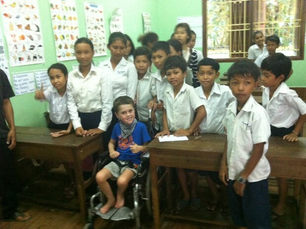 Coop in the school classroom in New Hope School in Siem Reap, Cambodia. inspiring travel interview