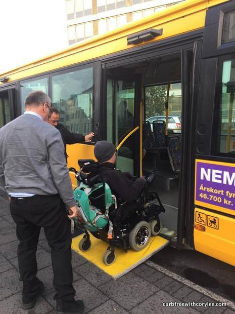 Getting on the city buses is easy breezy as a wheelchair user! wheelchair accessible things to do in reykjavik iceland
