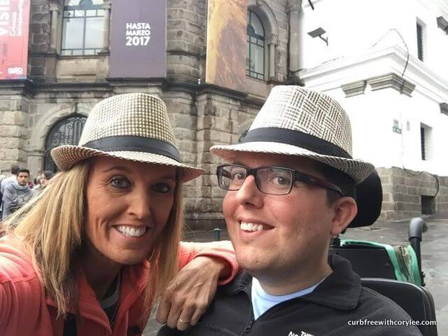 My mom and I in Quito with our Panama hats!