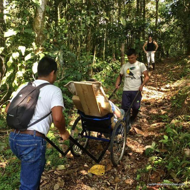 Hiking in the Amazon in an off road wheelchair